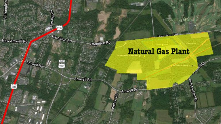 The proposed natural gas plant is about 10 miles north of Princeton, NJ.