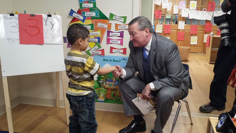 Philadelphia Mayor Jim Kenney meets with students at Kinder Academy – a top-rated preschool option in Northeast Philadelphia. (Kevin McCorry)