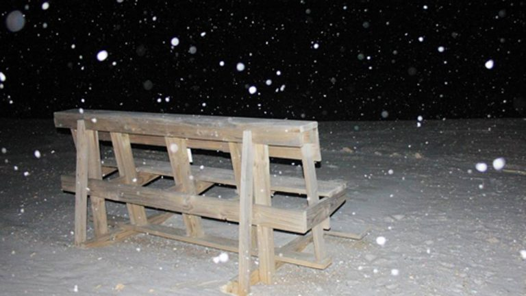 Snow falling on Long Beach Island Friday night. (Photo by Stay Above the Weather via JSHN Instagram)