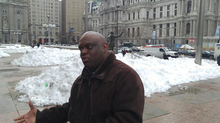 Philadelphia Streets Commissioner Donald Carlton says blowing and drifting snow is compounding the problem.  (Tom MacDonald)