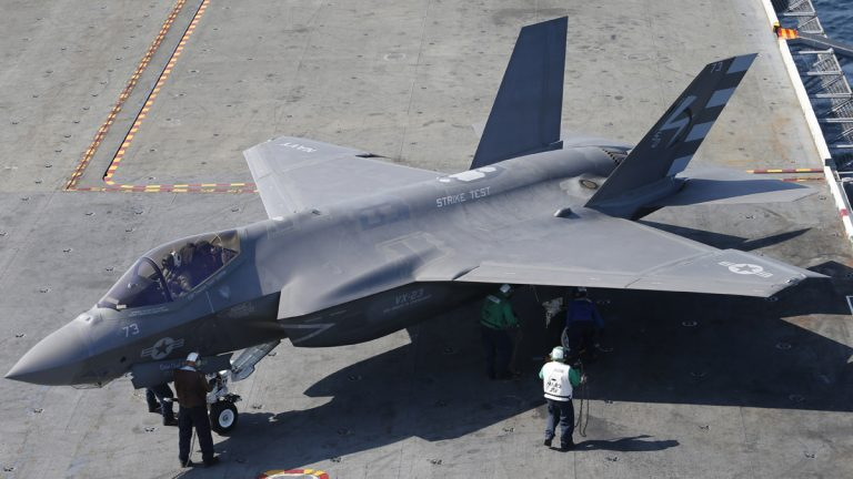 An F-35C Lightning II test aircraft taxies on the deck aboard the nuclear powered aircraft carrier USS Dwight D. Eisenhower of the coast of Norfolk, Va., Friday, Oct. 9, 2015. The aircraft is scheduled to be deployed in 2018. (AP Photo/Steve Helber, file)