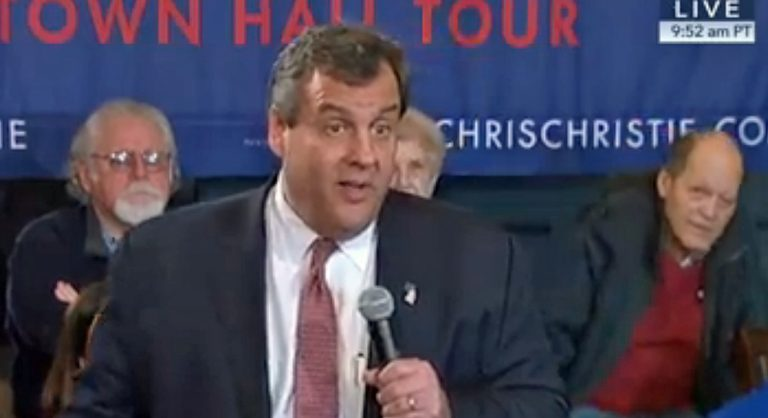 Chris Christie holding a town hall meeting today in Ottumwa, Iowa. (Screenshot C-Span)