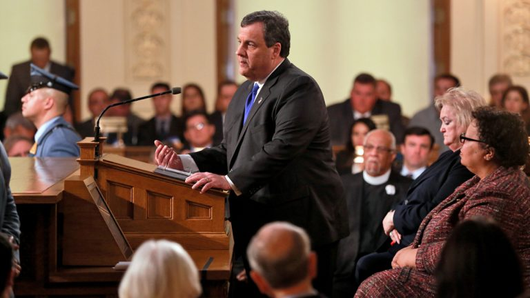 New Jersey Governor Chris Christie delivers his budget address, Feb 6, 2016.(Governor's Office/Mykwain Gainey)