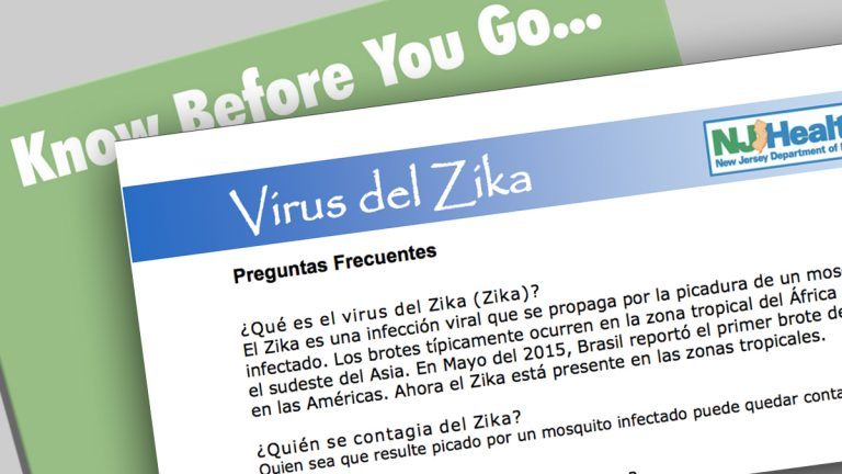 A spanish-language flyer warning pregnant women about the Zika virus. (NJ Dept of Health)