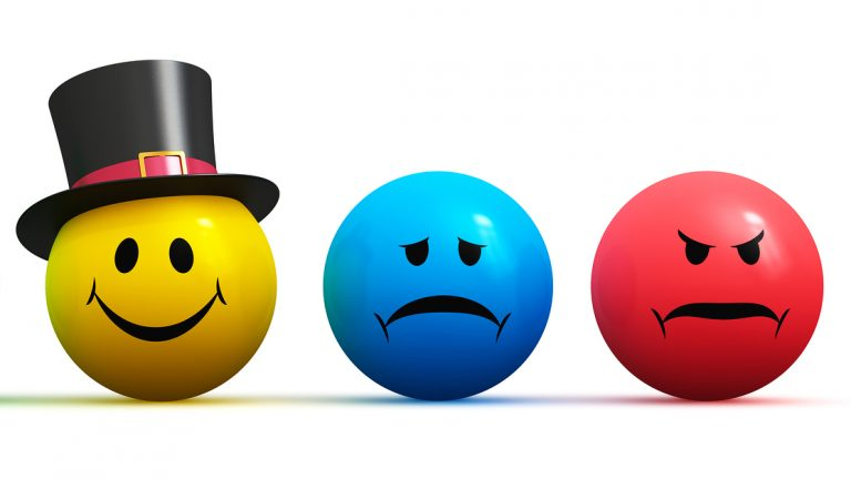 Color smiley faces emoticons with four different moods: happiness sadness anger and displeasure isolated on white background