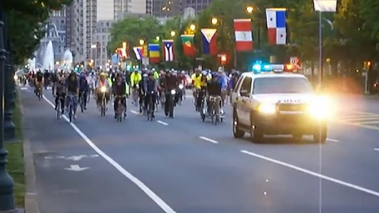 Cyclist in the 2008 Ride of Silence in Philadelphia. (Screen capture from video by John Boyle)