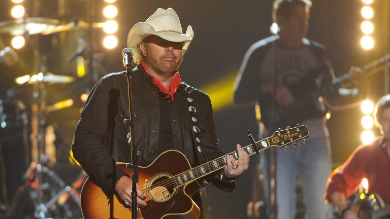 Toby Keith performing on stage at the 49th annual Academy of Country Music Awards at the MGM Grand Garden Arena on Sunday