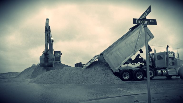 Sand is used to prepare a buffer in the Ortley Beach section of Toms River N.J. on Friday Oct. 2