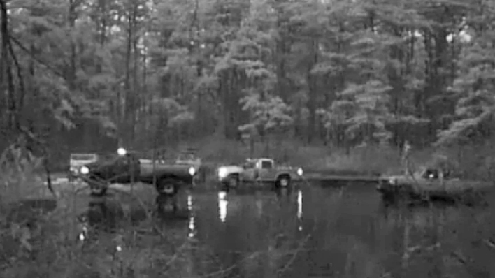 Cars are not supposed to leave designated roads in NJ's Pine Barrens. (Screen capture of Courier Post video)