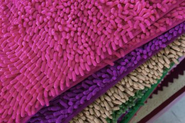 colorful carpet softness texture of doormat close-up image