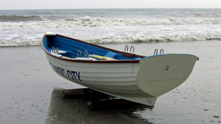 Atlantic City lifeboat sits ready on the beach.
