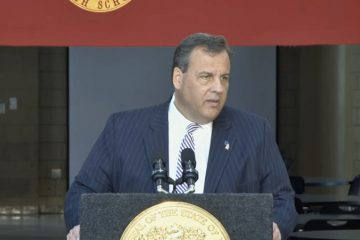 New Jersey Gov. Chris Christie announces his school funding plan at Hillsborough High School Tuesday