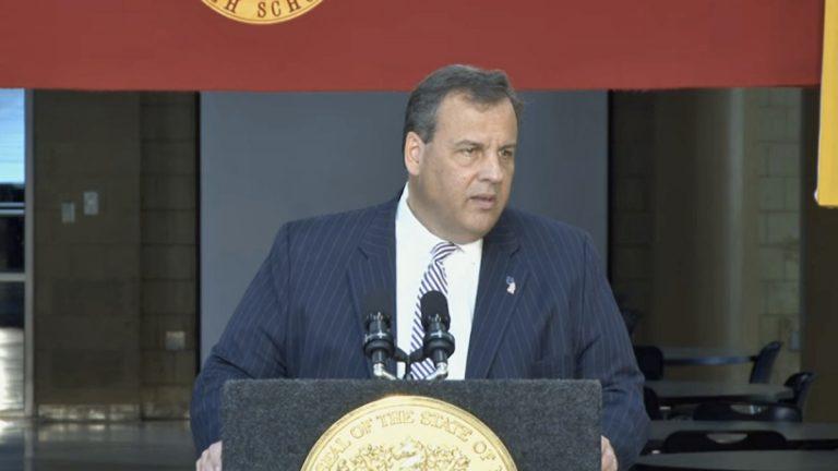 New Jersey Gov. Chris Christie announces his school funding plan at Hillsborough High School Tuesday