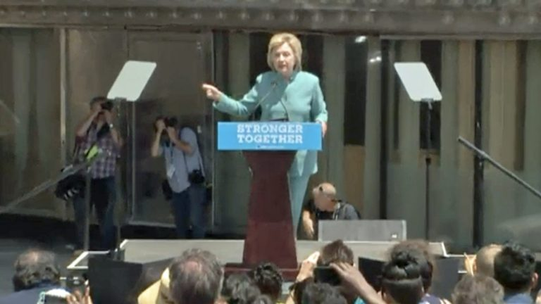 Hillary Clinton speaking in front of a closed Trump Plaza casino. (Screenshot from APP.COM stream)