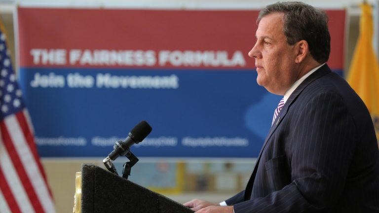 Governor Chris Christie announces his proposal to rewrite New Jersey's school funding formula.  (Governor's Office/Tim Larsen)