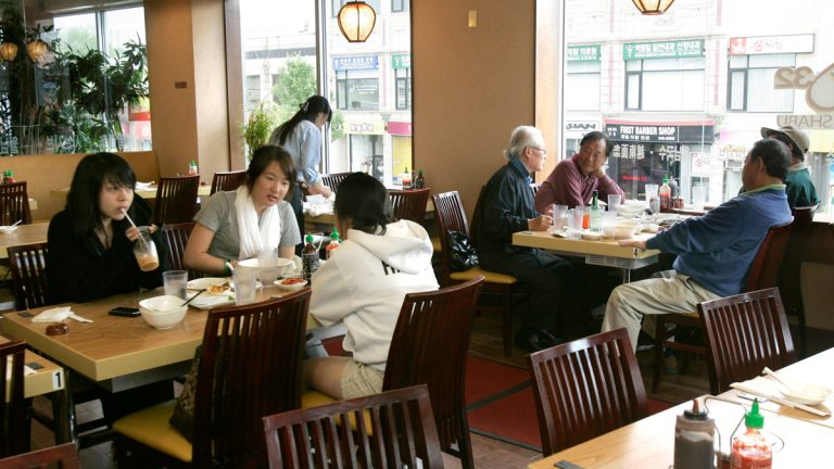 Diners eat in a traditional Korean restaurant in Palisades Park