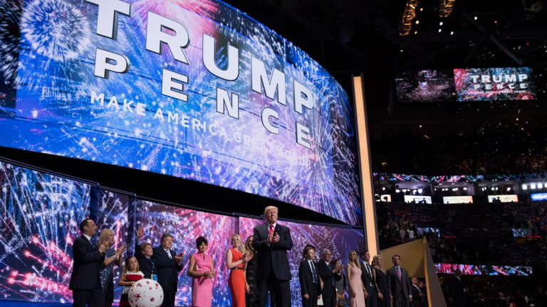 Republican presidential candidate Donald Trump celebrates on the final night of the Republican National Convention