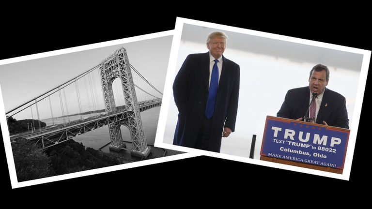 The George Washington Bridge (Big Stock file photo) and Donald Trump and Chris Christie at a campaign event on March 1