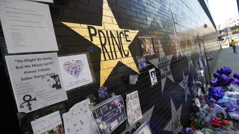 A memorial wall in Minneapolis in May for the artist Prince