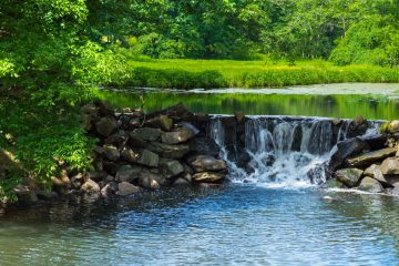 A small quiet waterfall in Duke Farms in Central New Jersey. (Big Stock photo)