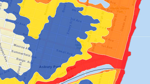 This is an image of the evacuation zones for Asbury Park