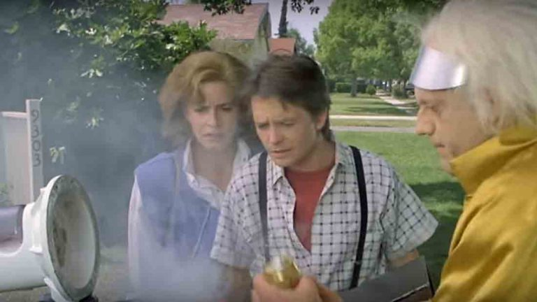 In the 1985 film Back to the Future Dr. Emmet Brown returns from the future in a car that is powered by food waste using Mr. Fusion. (Photo by Back to the Future™)