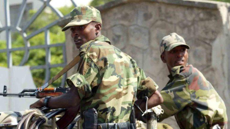 Members of the Ethiopian army patrol the streets of Addis Ababa in 2005.  (AP Photo/Karel Prinsloo