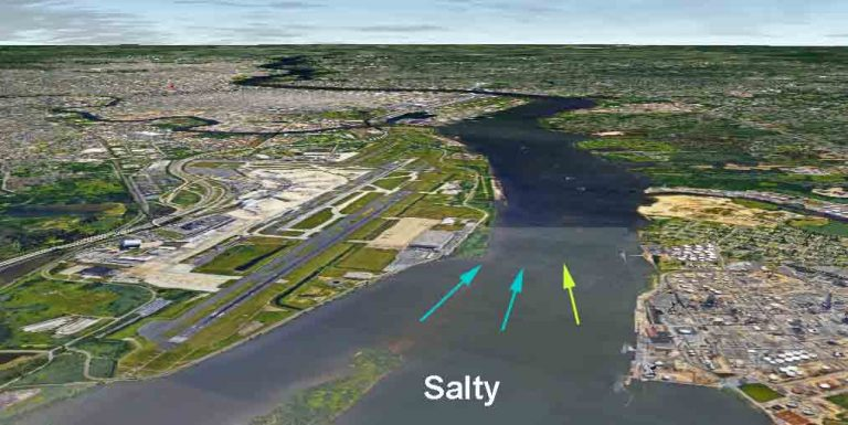 The salt line has moved from Wilmington to near the Phila Airport. (Salt line shown is for illustration purposes and does not reflect the exact location) Image by Alan Tu