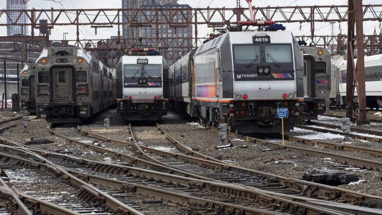 New Jersey Transit trains at the Hoboken terminal.  (AP Photo/Mary Altaffer)
