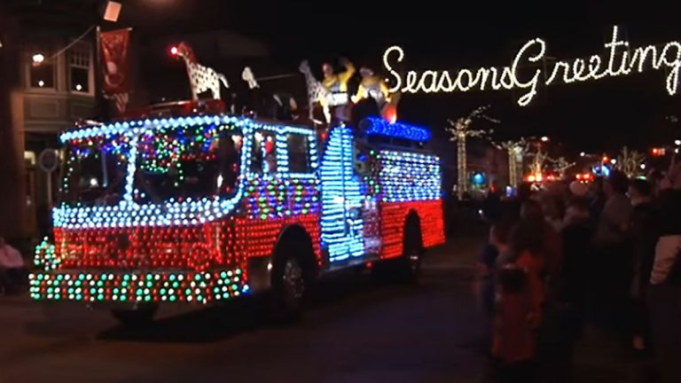 Lit up fire engine at the 2015 Collingswood Parade of Lights. (Screen capture from homer218 YouTube video)