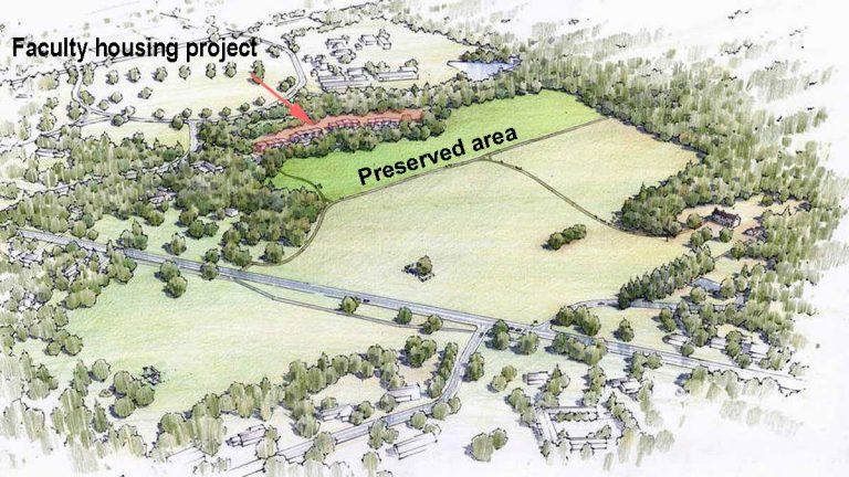 The Institute will now only build on 25% of the original area. (Image from the Institute for Advanced Study)