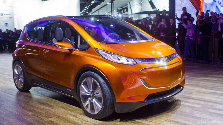 The new Chevrolet Bolt electric car can be driven more than 200-miles on a single charge. (AP Photo/Tony Ding