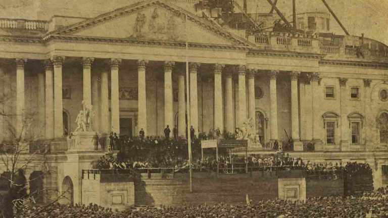 This rare photograph shows Abraham Lincoln taking the oath of office on March 4