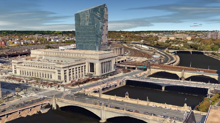 30th Street Station in Philadelphia. (Image via Google Earth)