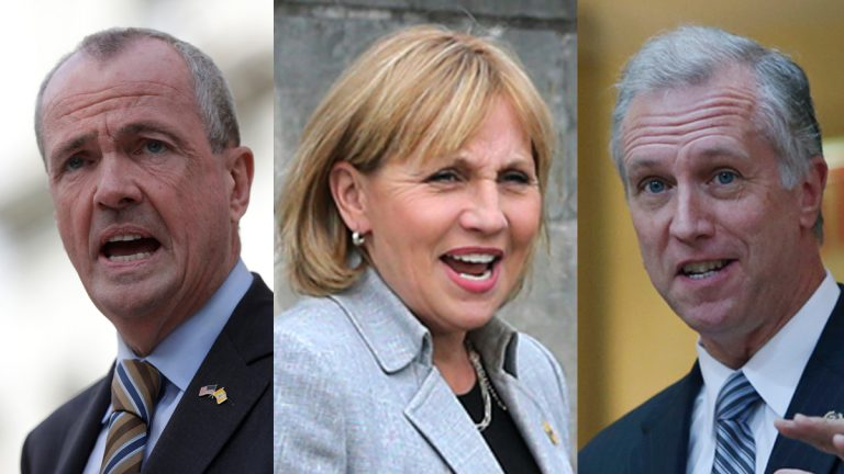 New Jersey Gubernatorial contenders (from left) former Obama administration ambassador Phil Murphy; Lt. Gov. Kim Guadagno; and New Jersey Assemblyman John S. Wisniewski