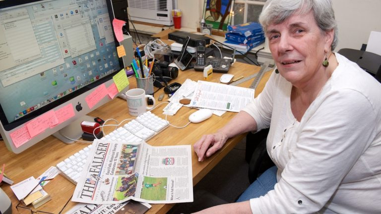 Julie Camburn says her 247-issue tenure at The Fallser 'has been a wonderful ride.' (Bas Slabbers/for NewsWorks)
