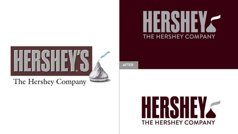 This image provided by The Hershey Company shows the company's old and new corporate logos. On Friday, Aug. 29, 2014, the candy maker announced a new design, which adds a Kisses chocolate at the end of the company's name. (The Hershey Company/AP Photo)