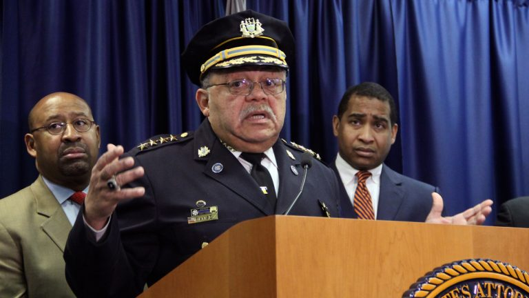 Following up on a Department of Justice report, (from left) Philadelphia Mayor Michael Nutter, Police Commissioner Charles Ramsey and U.S. Attorney Zane Memeger took part in a roundtable discussion on community-police relations. (NewsWorks file photo)