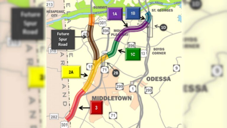 The green, purple and blue sections of this DelDOT map shows the area where the new Rt. 301 toll road will connect to Rt. 1. (DelDOT photo)
