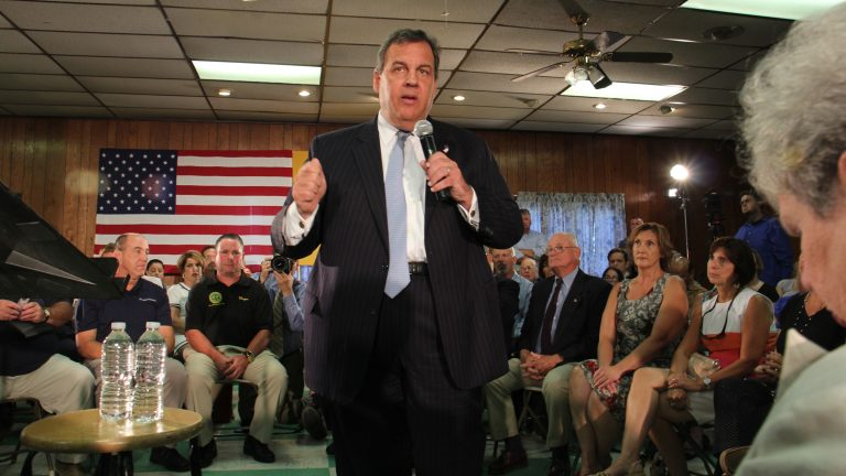 Gov. Chris Christie promotes his school funding formula at a forum in Bordentown