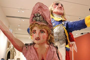 Massive characters of George and Martha Washington, Thomas Jefferson, and Benjamin Franklin from Red Grooms' Philadelphia Cornucopia installation will inhabit PAFA's 7,000-square-foot Fisher Brooks Gallery. (Emma Lee/WHYY)
