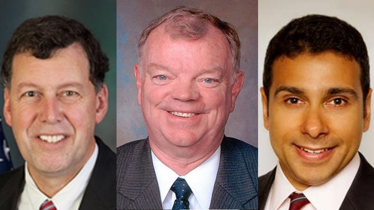 (From left) State Rep. Scott Petri, Andy Warren, and Dean H. Malik are running as Republican candidates for an open congressional seat in Bucks County.