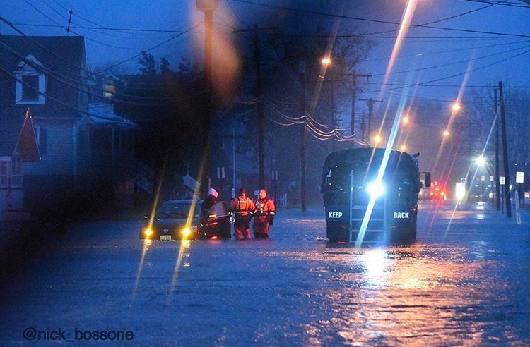 A vehicle stuck in floodwaters in Manasquan yesterday evening. (Image: @nick_bossone as tagged #JSHN on Instagram)