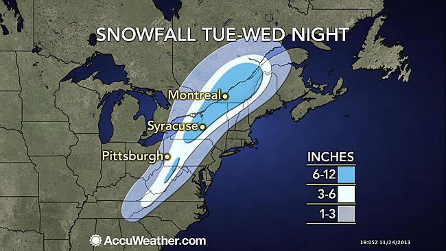 A preliminary AccuWeather.com graphic of expected snowfall between Tuesday and Wednesday night.