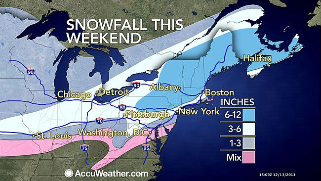 The AccuWeather.com depiction of the storm impacts: reduced snowfall amounts from north to south.