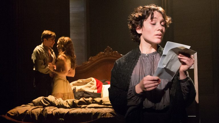 From left, Ben Michael, Jennie Eisenhower and Liz Filios in Arden Theatre Company's production of 'Passion.' (Photo courtesy of Mark Garvin)