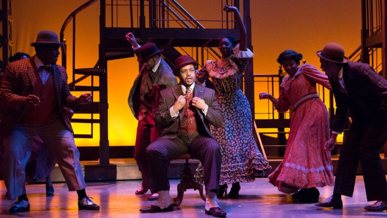 Derrick Cobey, center, as Coalhouse Walker Jr. and some of the ensemble in Bristol Riverside Theatre's production of 'Ragtime' (Photo courtesy of Mark Garvin)