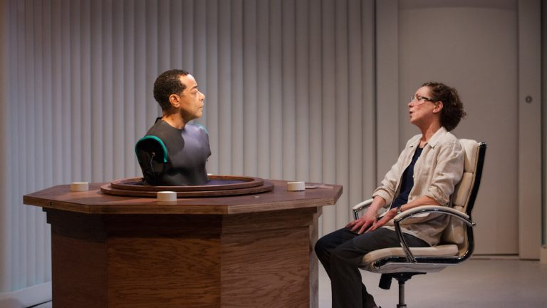 Frank X and Sally Mercer in InterAct Theatre Company's production of 'Uncanny Valley.' (Photo courtesy of Plate 3 Photography)