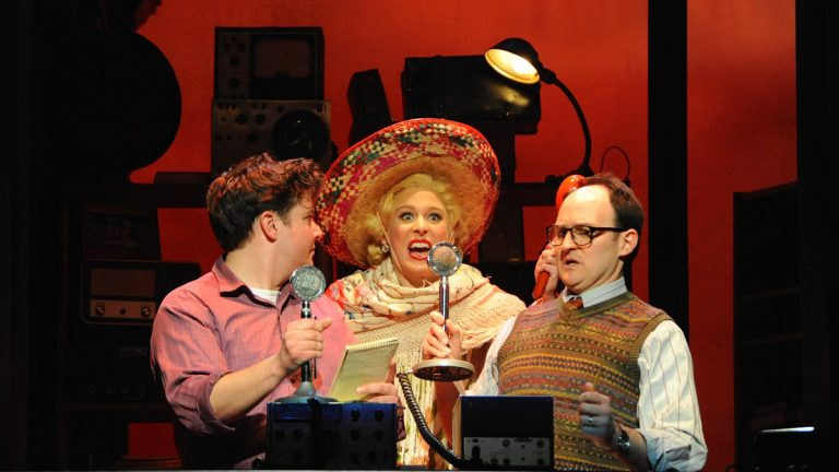 In Buck County Playhouse's production of 'National Pastime,' from left: Will Blum, Stephanie Gibson and Michael Dean Morgan. (Photo courtesy of Mandee Kuenzle)