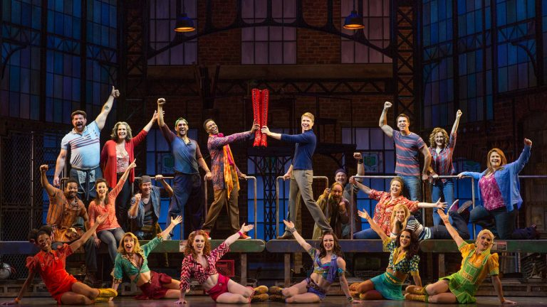 The cast of the 'Kinky Boots' national tour, at the Forrest Theatre. (Photo courtesy of Matthew Murphy)